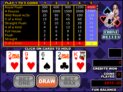 Loose Deuces Video Poker – Play it Free at VegasSlotsOnline